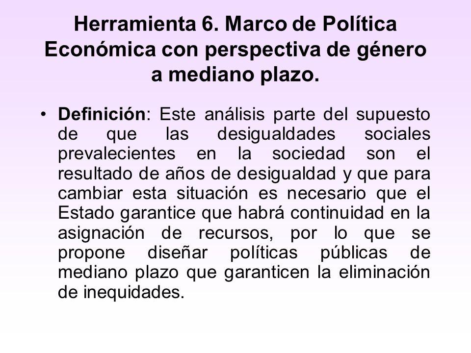 Herramienta 6. Marco de Política Económica con perspectiva de género a mediano plazo. Definición: Este análisis parte del supuesto de que las desigual