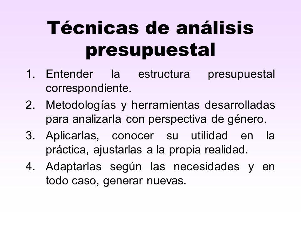 Técnicas de análisis presupuestal 1.Entender la estructura presupuestal correspondiente. 2.Metodologías y herramientas desarrolladas para analizarla c
