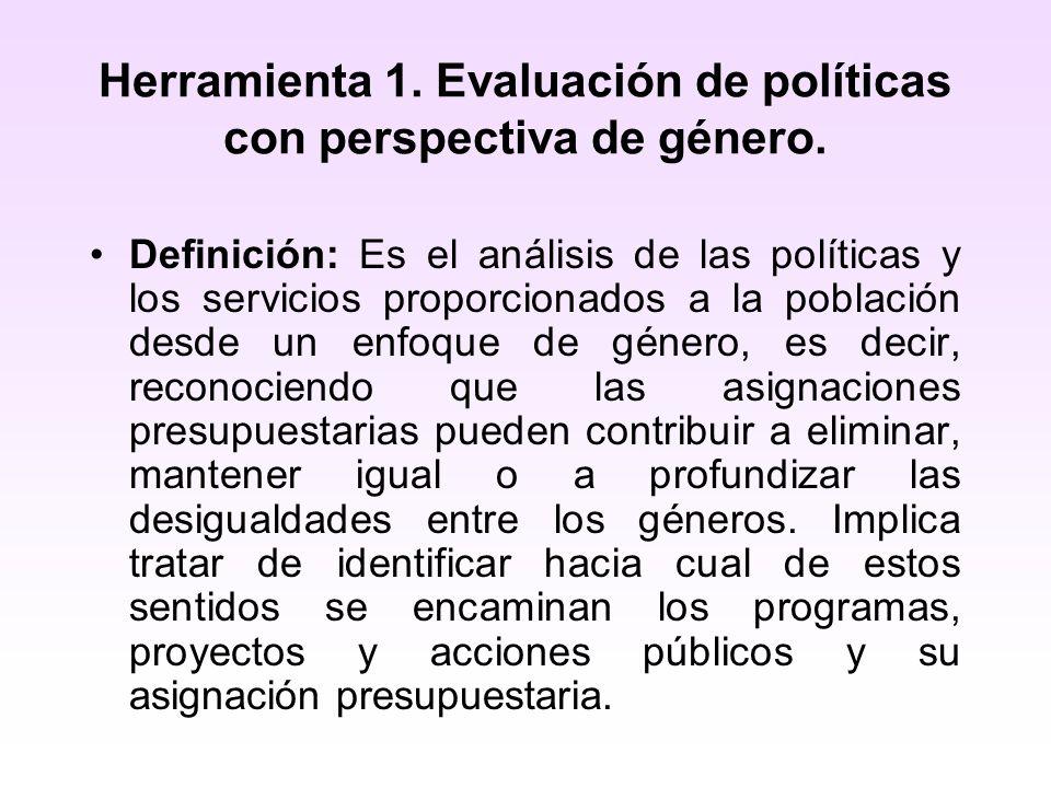Herramienta 1. Evaluación de políticas con perspectiva de género. Definición: Es el análisis de las políticas y los servicios proporcionados a la pobl