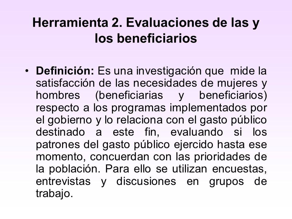 Herramienta 2. Evaluaciones de las y los beneficiarios Definición: Es una investigación que mide la satisfacción de las necesidades de mujeres y hombr