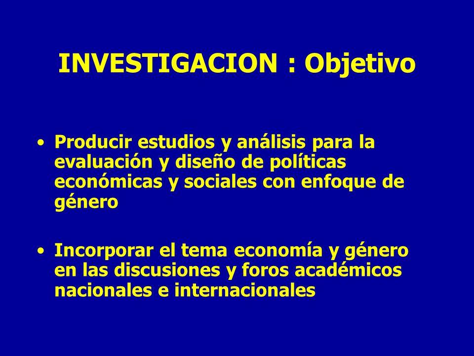INVESTIGACION : Objetivo Producir estudios y análisis para la evaluación y diseño de políticas económicas y sociales con enfoque de género Incorporar el tema economía y género en las discusiones y foros académicos nacionales e internacionales