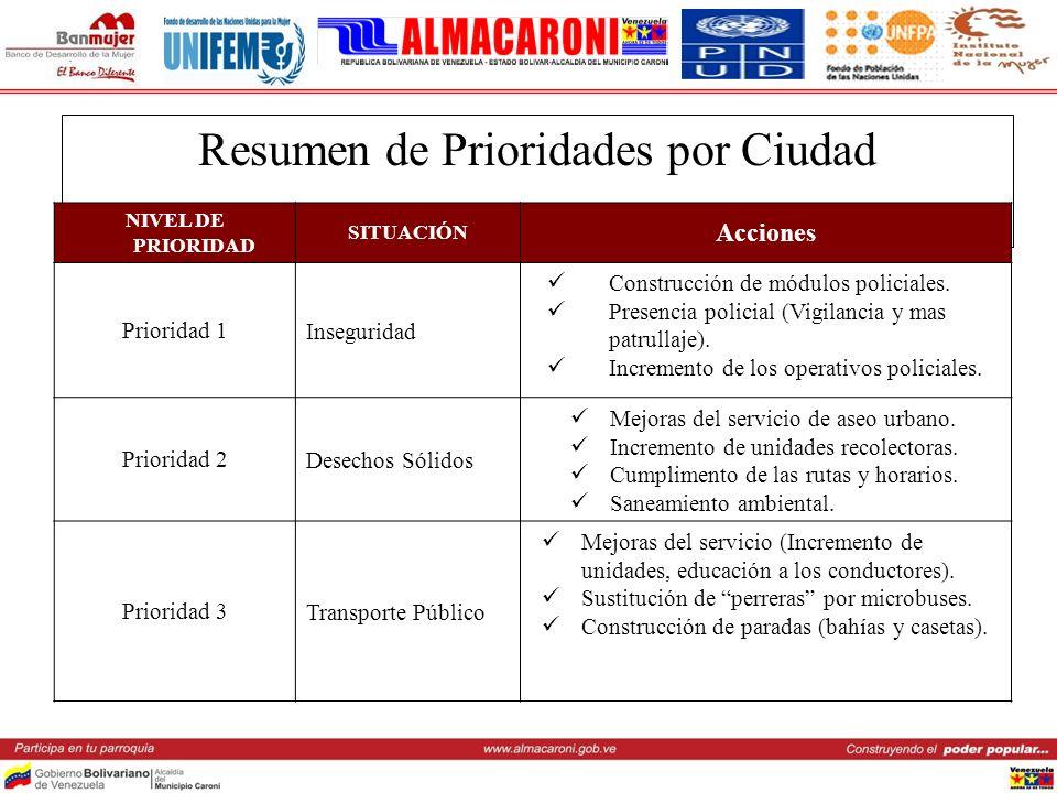 Resumen de Prioridades por Ciudad NIVEL DE PRIORIDAD SITUACIÓN Acciones Prioridad 1Inseguridad Construcción de módulos policiales. Presencia policial