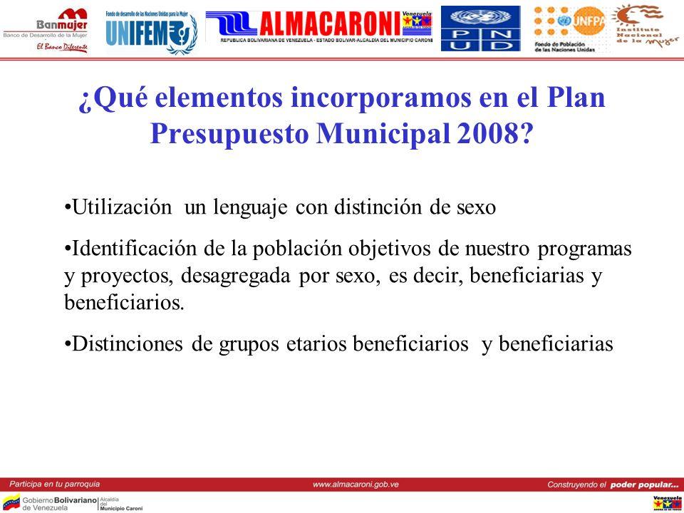 ¿Qué elementos incorporamos en el Plan Presupuesto Municipal 2008? Utilización un lenguaje con distinción de sexo Identificación de la población objet