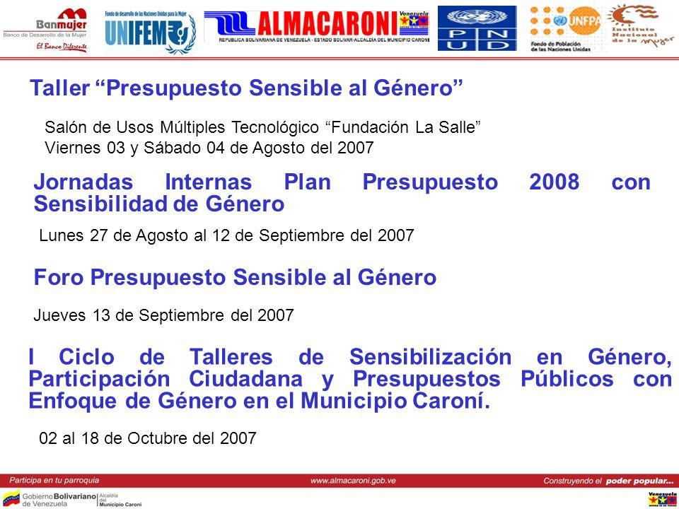 Taller Presupuesto Sensible al Género Salón de Usos Múltiples Tecnológico Fundación La Salle Viernes 03 y Sábado 04 de Agosto del 2007 Jornadas Intern