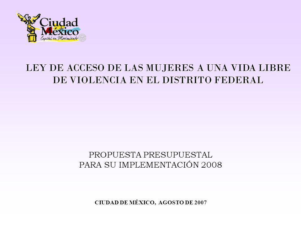 ATENCIÓN Y PREVENCIÓN DE LA VIOLENCIA CONTRA LAS MUJERES EN EL DISTRITO FEDERAL INSTITUCIÓN EJECUTORA DEL GASTO PRESUPUESTO 2008 PREVENCIÓN DE LA VIOLENCIA CONTRA LAS MUJERES EN EL DISTRITO FEDERAL 1/ ATENCIÓN DE LA VIOLENCIA CONTRA LAS MUJERES EN EL DISTRITO FEDERAL 2/ ACCESO A LA JUSTICIA TOTAL Entidades de Transporte del Distrito Federal$4,500,000.00$0.00 $4,500,000.00 Sistema de Transporte Colectivo (Metro)$1,500,000.00$0.00 $1,500,000.00 Diseñar, elaborar y difundir materiales educativos; impartir talleres; realizar estudios estadísticos e investigaciones sobre violencia contra las mujeres; realizar campañas de prevención.