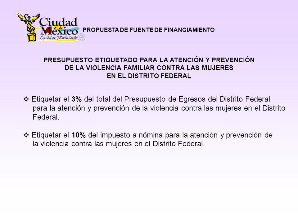 PROPUESTA DE FUENTE DE FINANCIAMIENTO PRESUPUESTO ETIQUETADO PARA LA ATENCIÓN Y PREVENCIÓN DE LA VIOLENCIA FAMILIAR CONTRA LAS MUJERES EN EL DISTRITO FEDERAL Etiquetar el 3% del total del Presupuesto de Egresos del Distrito Federal para la atención y prevención de la violencia contra las mujeres en el Distrito Federal.