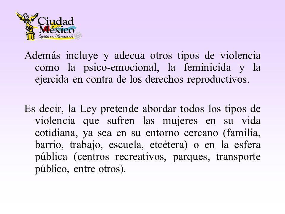 Además incluye y adecua otros tipos de violencia como la psico-emocional, la feminicida y la ejercida en contra de los derechos reproductivos.