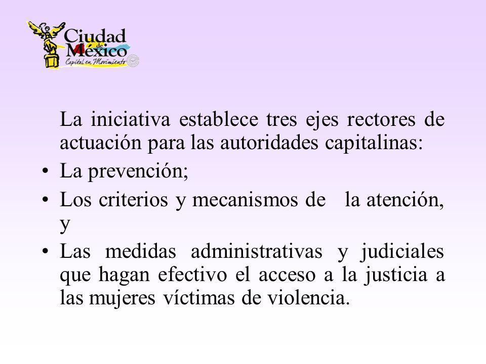 La iniciativa establece tres ejes rectores de actuación para las autoridades capitalinas: La prevención; Los criterios y mecanismos de la atención, y Las medidas administrativas y judiciales que hagan efectivo el acceso a la justicia a las mujeres víctimas de violencia.