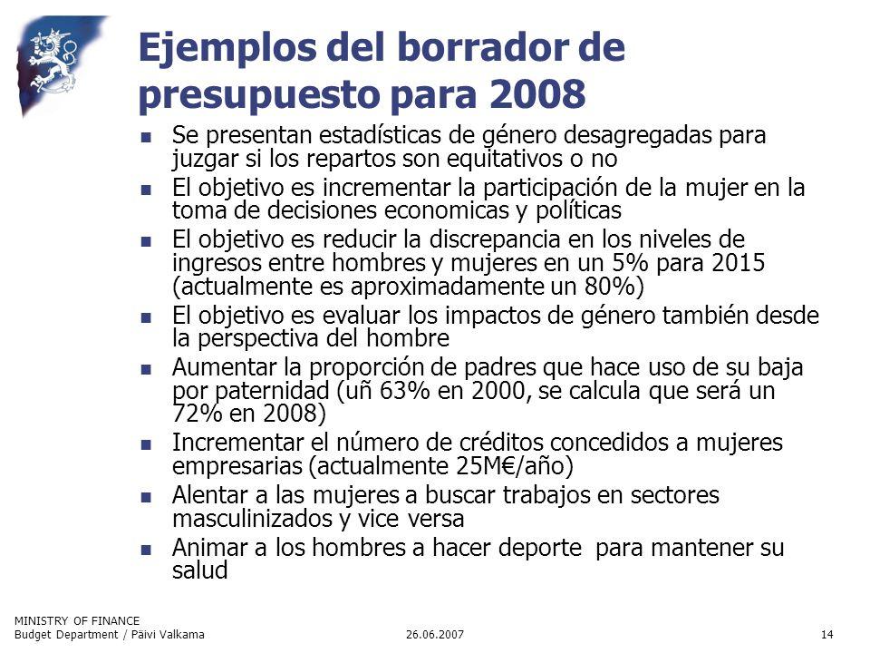 MINISTRY OF FINANCE 26.06.2007Budget Department / Päivi Valkama14 Ejemplos del borrador de presupuesto para 2008 Se presentan estadísticas de género d