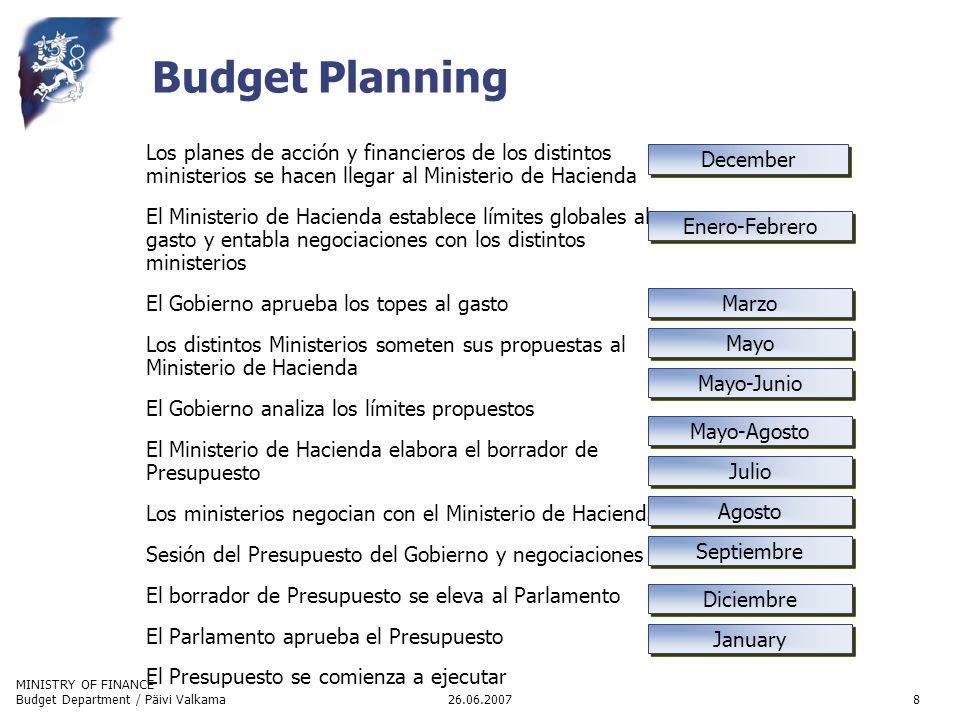MINISTRY OF FINANCE 26.06.2007Budget Department / Päivi Valkama8 Budget Planning Los planes de acción y financieros de los distintos ministerios se ha