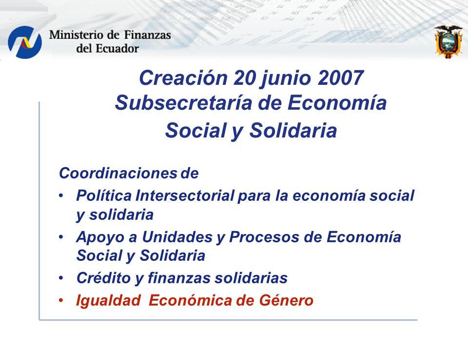Creación 20 junio 2007 Subsecretaría de Economía Social y Solidaria Coordinaciones de Política Intersectorial para la economía social y solidaria Apoyo a Unidades y Procesos de Economía Social y Solidaria Crédito y finanzas solidarias Igualdad Económica de Género