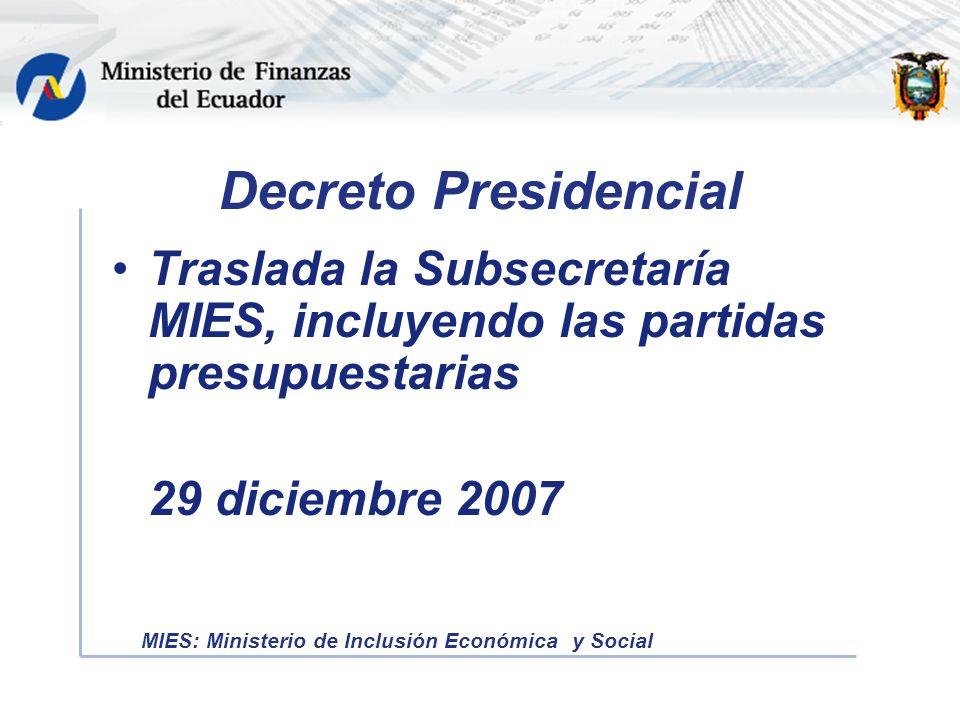 Decreto Presidencial Traslada la Subsecretaría MIES, incluyendo las partidas presupuestarias 29 diciembre 2007 MIES: Ministerio de Inclusión Económica y Social