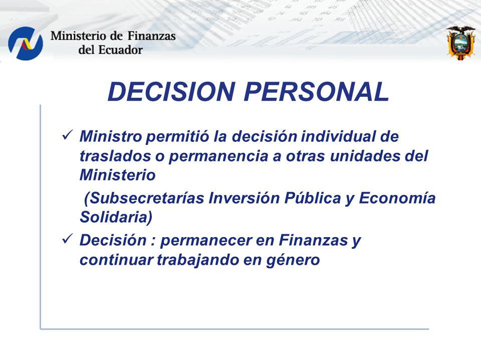 DECISION PERSONAL Ministro permitió la decisión individual de traslados o permanencia a otras unidades del Ministerio (Subsecretarías Inversión Pública y Economía Solidaria) Decisión : permanecer en Finanzas y continuar trabajando en género