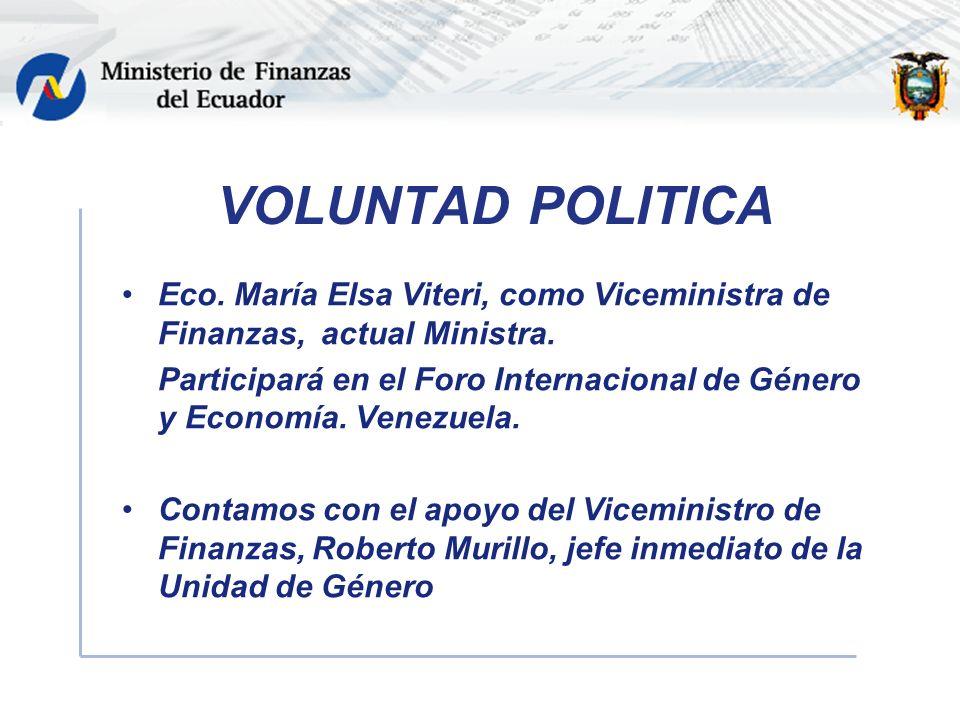 VOLUNTAD POLITICA Eco. María Elsa Viteri, como Viceministra de Finanzas, actual Ministra.