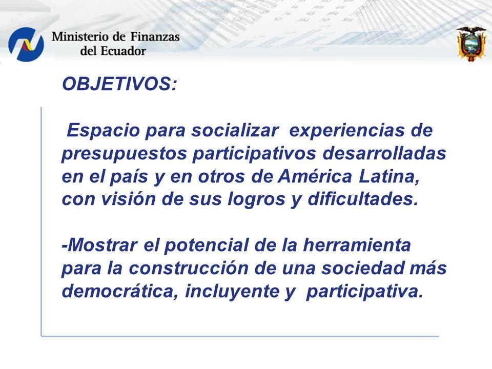 OBJETIVOS: Espacio para socializar experiencias de presupuestos participativos desarrolladas en el país y en otros de América Latina, con visión de sus logros y dificultades.