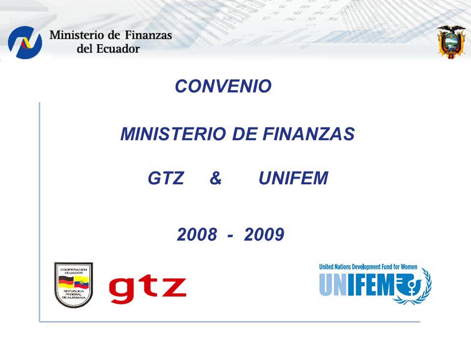 CONVENIO MINISTERIO DE FINANZAS GTZ & UNIFEM 2008 - 2009