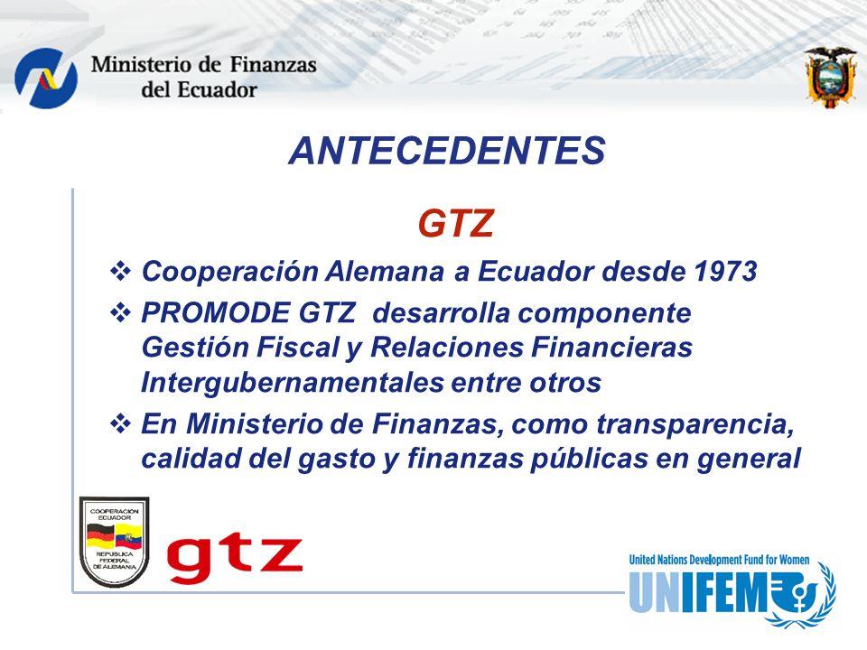 ANTECEDENTES GTZ Cooperación Alemana a Ecuador desde 1973 PROMODE GTZ desarrolla componente Gestión Fiscal y Relaciones Financieras Intergubernamentales entre otros En Ministerio de Finanzas, como transparencia, calidad del gasto y finanzas públicas en general