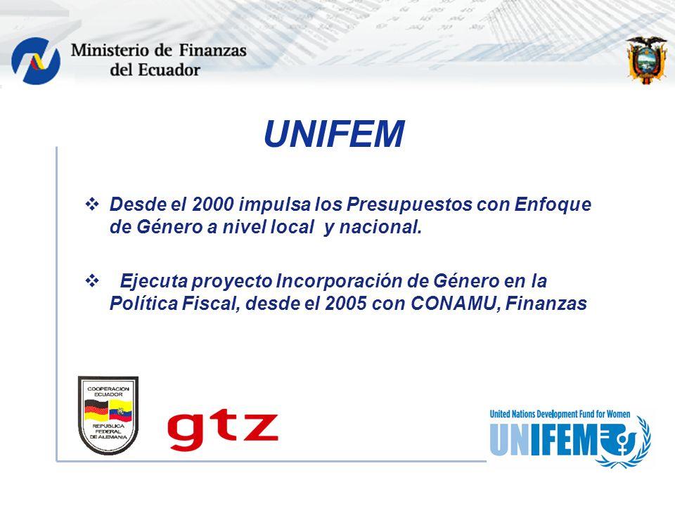 UNIFEM Desde el 2000 impulsa los Presupuestos con Enfoque de Género a nivel local y nacional.