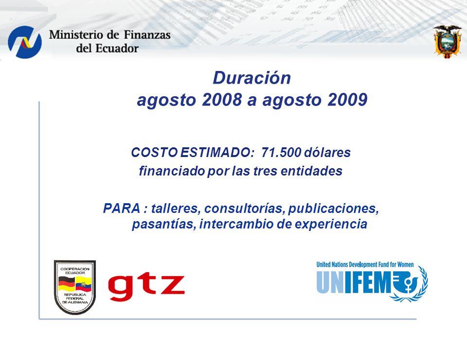 Duración agosto 2008 a agosto 2009 COSTO ESTIMADO: 71.500 dólares financiado por las tres entidades PARA : talleres, consultorías, publicaciones, pasantías, intercambio de experiencia