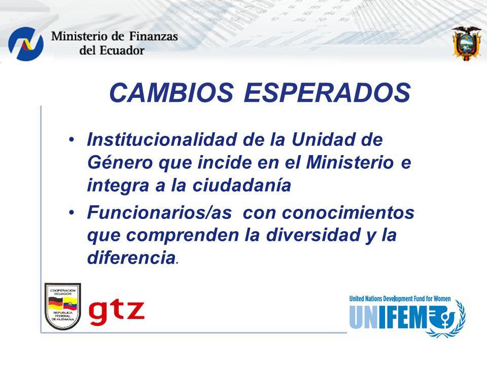 CAMBIOS ESPERADOS Institucionalidad de la Unidad de Género que incide en el Ministerio e integra a la ciudadanía Funcionarios/as con conocimientos que comprenden la diversidad y la diferencia.