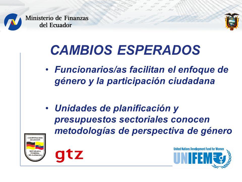 CAMBIOS ESPERADOS Funcionarios/as facilitan el enfoque de género y la participación ciudadana Unidades de planificación y presupuestos sectoriales conocen metodologías de perspectiva de género