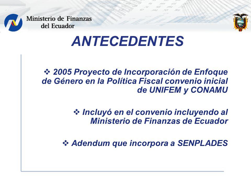 ANTECEDENTES 2005 Proyecto de Incorporación de Enfoque de Género en la Política Fiscal convenio inicial de UNIFEM y CONAMU Incluyó en el convenio incluyendo al Ministerio de Finanzas de Ecuador Adendum que incorpora a SENPLADES