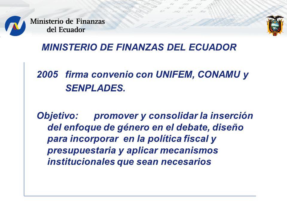 2005 firma convenio con UNIFEM, CONAMU y SENPLADES.