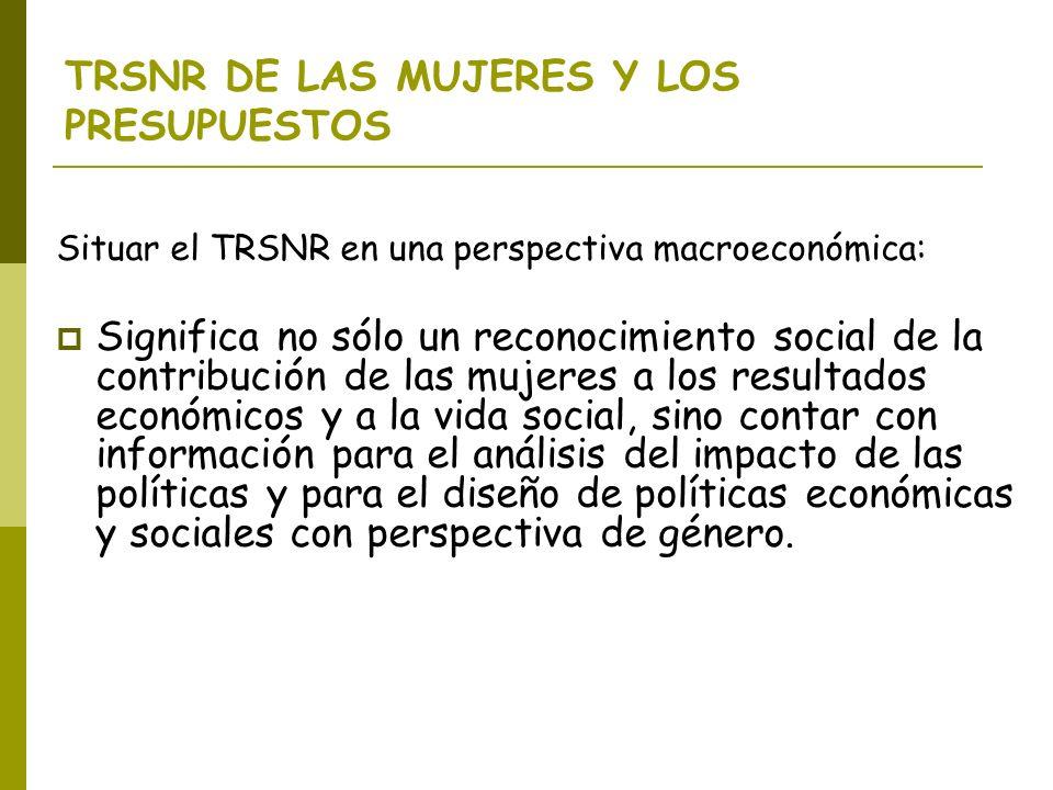 TRSNR DE LAS MUJERES Y LOS PRESUPUESTOS Situar el TRSNR en una perspectiva macroeconómica: Significa no sólo un reconocimiento social de la contribuci