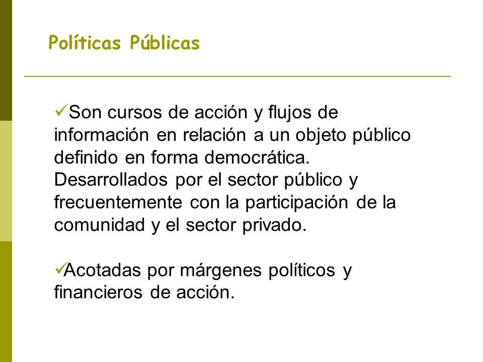 Políticas Públicas Son cursos de acción y flujos de información en relación a un objeto público definido en forma democrática. Desarrollados por el se