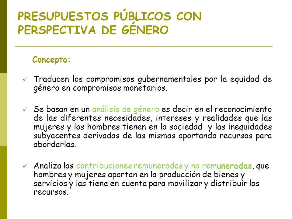 PRESUPUESTOS PÚBLICOS CON PERSPECTIVA DE GÉNERO Concepto: Traducen los compromisos gubernamentales por la equidad de género en compromisos monetarios.