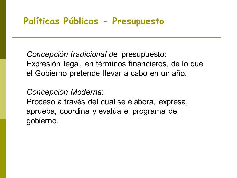 Políticas Públicas - Presupuesto Concepción tradicional del presupuesto: Expresión legal, en términos financieros, de lo que el Gobierno pretende llevar a cabo en un año.