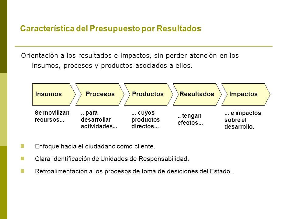 Característica del Presupuesto por Resultados Orientación a los resultados e impactos, sin perder atención en los insumos, procesos y productos asociados a ellos.