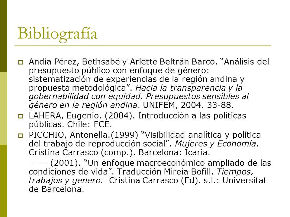 Bibliografía Andía Pérez, Bethsabé y Arlette Beltrán Barco. Análisis del presupuesto público con enfoque de género: sistematización de experiencias de