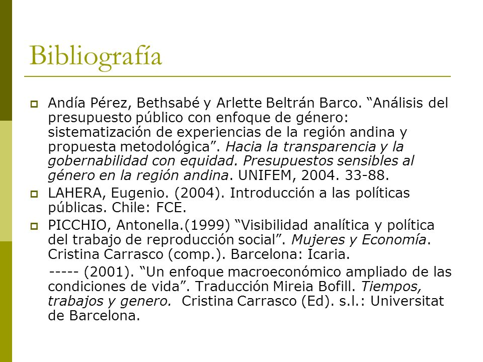 Bibliografía Andía Pérez, Bethsabé y Arlette Beltrán Barco.