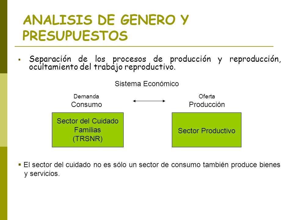 Separación de los procesos de producción y reproducción, ocultamiento del trabajo reproductivo. Sector del Cuidado Familias (TRSNR) Sector Productivo