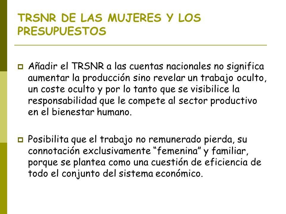 TRSNR DE LAS MUJERES Y LOS PRESUPUESTOS Añadir el TRSNR a las cuentas nacionales no significa aumentar la producción sino revelar un trabajo oculto, u