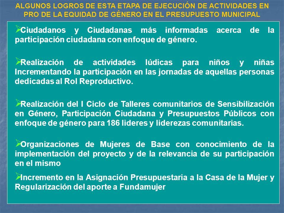 Ciudadanos y Ciudadanas más informadas acerca de la participación ciudadana con enfoque de género.