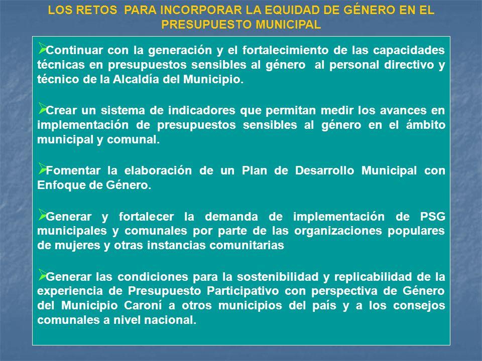 Continuar con la generación y el fortalecimiento de las capacidades técnicas en presupuestos sensibles al género al personal directivo y técnico de la Alcaldía del Municipio.