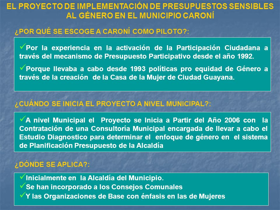 EL PROYECTO DE IMPLEMENTACIÓN DE PRESUPUESTOS SENSIBLES AL GÉNERO EN EL MUNICIPIO CARONÍ ¿POR QUÉ SE ESCOGE A CARONÍ COMO PILOTO : ¿CUÁNDO SE INICIA EL PROYECTO A NIVEL MUNICIPAL : ¿DÓNDE SE APLICA : Por la experiencia en la activación de la Participación Ciudadana a través del mecanismo de Presupuesto Participativo desde el año 1992.