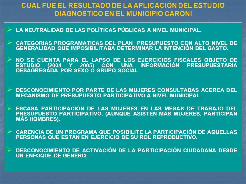CUAL FUE EL RESULTADO DE LA APLICACIÓN DEL ESTUDIO DIAGNOSTICO EN EL MUNICIPIO CARONÍ LA NEUTRALIDAD DE LAS POLÍTICAS PÚBLICAS A NIVEL MUNICIPAL.