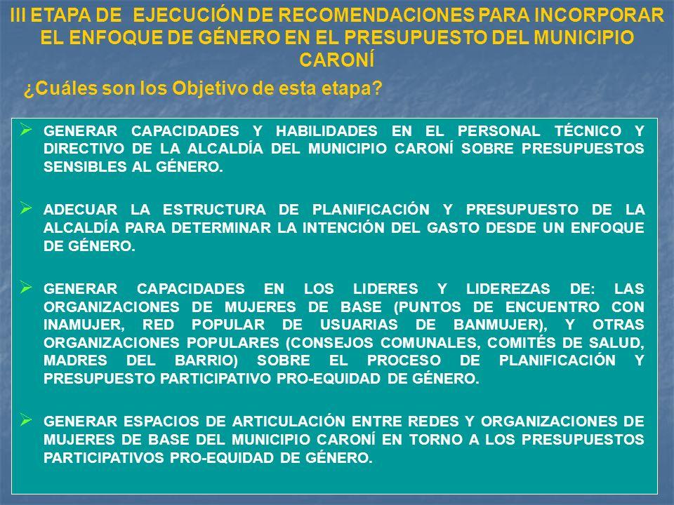 GENERAR CAPACIDADES Y HABILIDADES EN EL PERSONAL TÉCNICO Y DIRECTIVO DE LA ALCALDÍA DEL MUNICIPIO CARONÍ SOBRE PRESUPUESTOS SENSIBLES AL GÉNERO.