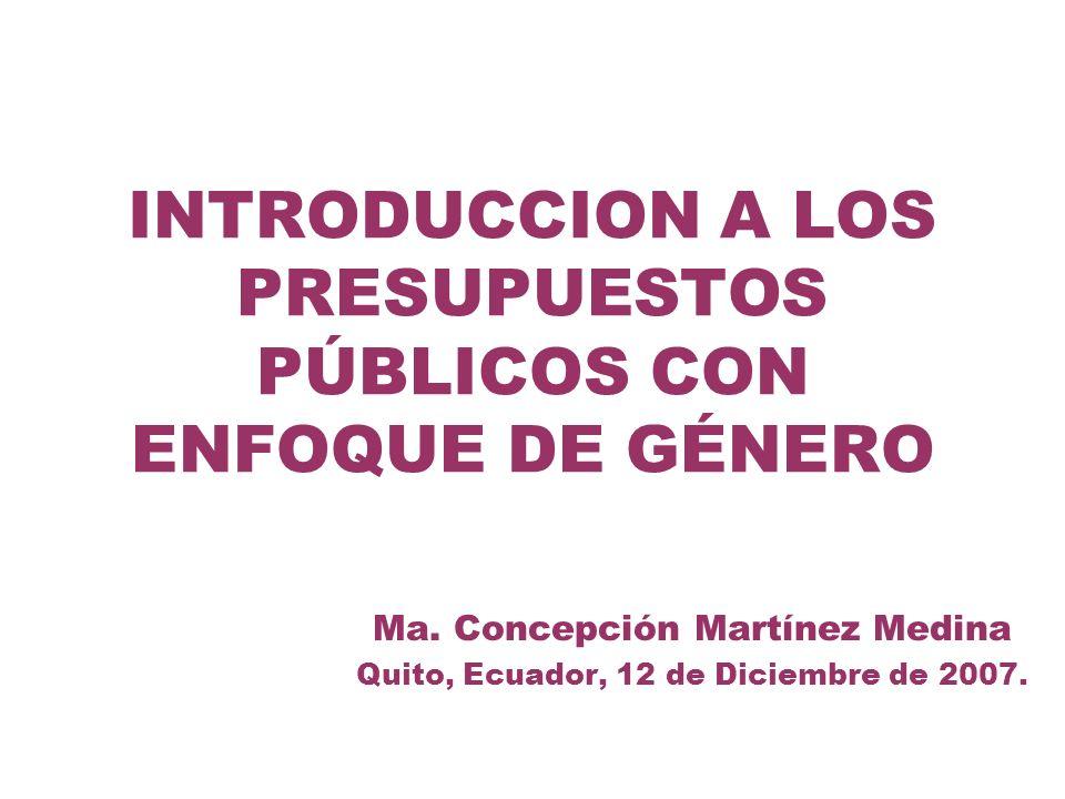 INTRODUCCION A LOS PRESUPUESTOS PÚBLICOS CON ENFOQUE DE GÉNERO Ma. Concepción Martínez Medina Quito, Ecuador, 12 de Diciembre de 2007.