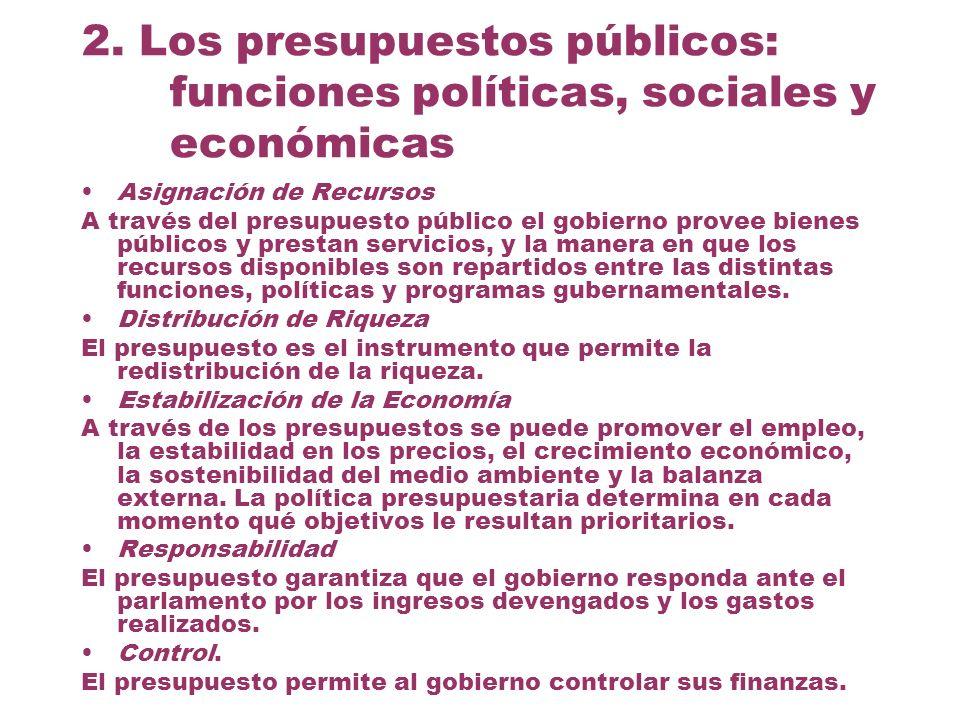 2. Los presupuestos públicos: funciones políticas, sociales y económicas Asignación de Recursos A través del presupuesto público el gobierno provee bi