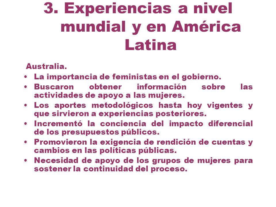 3. Experiencias a nivel mundial y en América Latina Australia. La importancia de feministas en el gobierno. Buscaron obtener información sobre las act