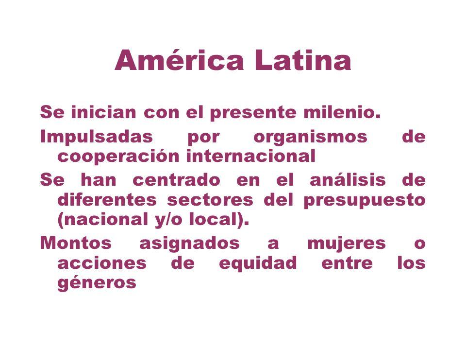 América Latina Se inician con el presente milenio. Impulsadas por organismos de cooperación internacional Se han centrado en el análisis de diferentes