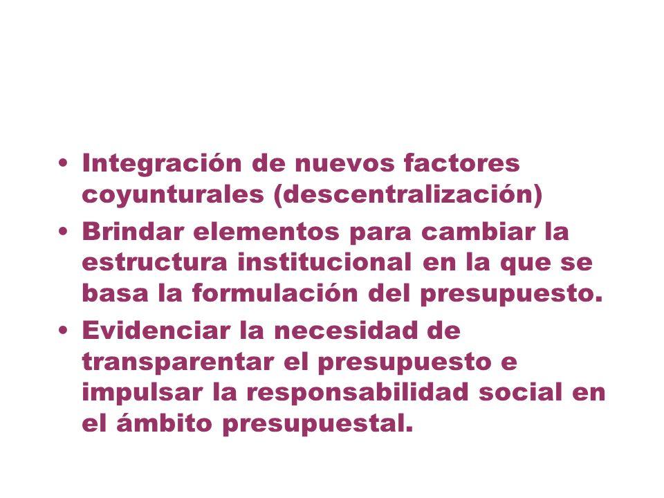 Integración de nuevos factores coyunturales (descentralización) Brindar elementos para cambiar la estructura institucional en la que se basa la formul