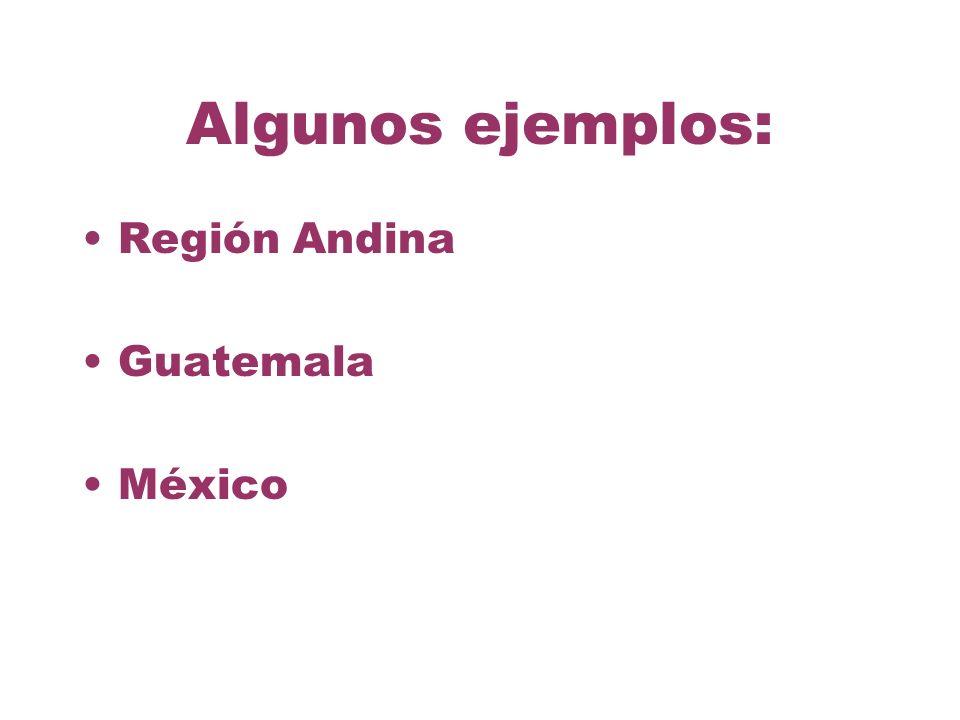 Algunos ejemplos: Región Andina Guatemala México