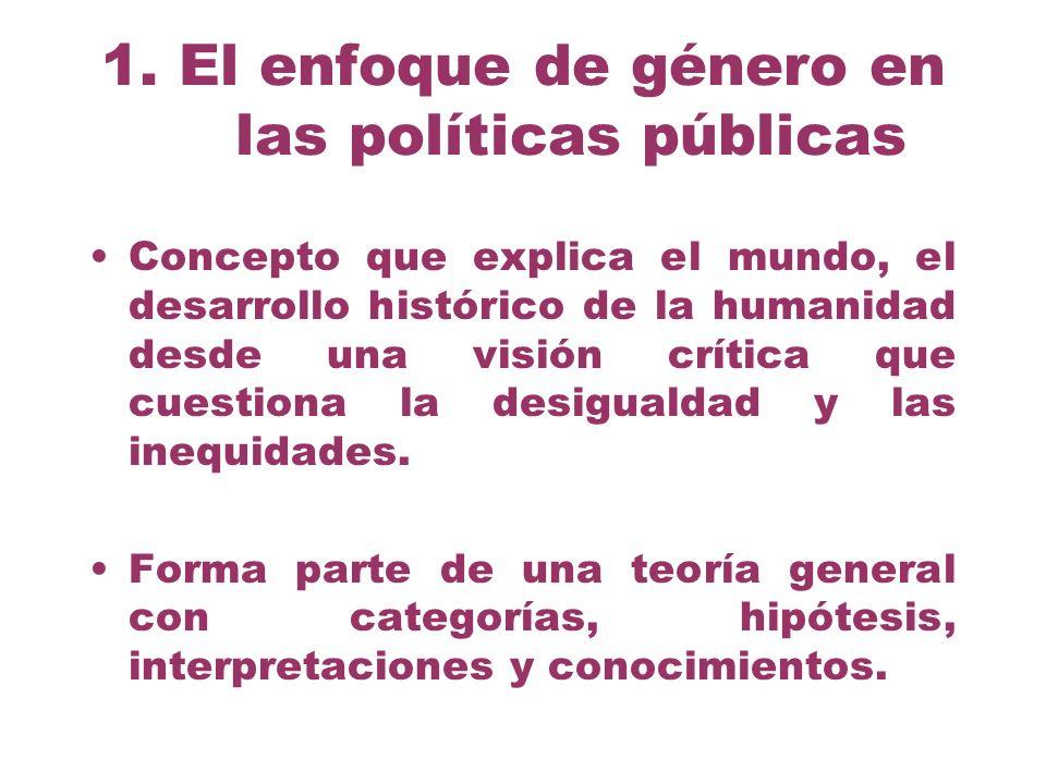 1. El enfoque de género en las políticas públicas Concepto que explica el mundo, el desarrollo histórico de la humanidad desde una visión crítica que