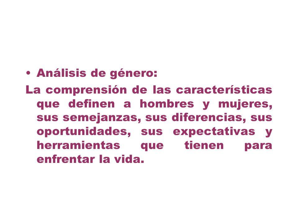 Análisis de género: La comprensión de las características que definen a hombres y mujeres, sus semejanzas, sus diferencias, sus oportunidades, sus exp