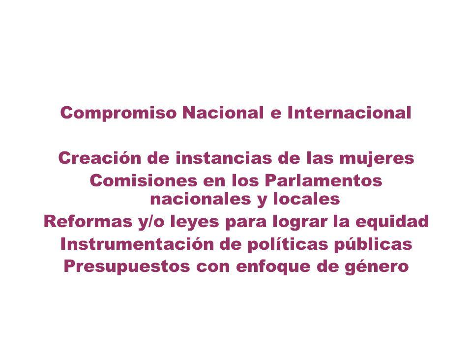 Compromiso Nacional e Internacional Creación de instancias de las mujeres Comisiones en los Parlamentos nacionales y locales Reformas y/o leyes para l